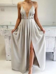 Simple A Line V Neck Grey Slit Long Prom Dresses Under 100, Elegant Evening Dresses