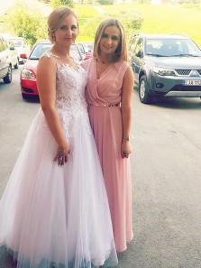 Simple A Line V Neck Chiffon Pink Long Prom Dresses, Formal Evening Dresses, Party Dresses