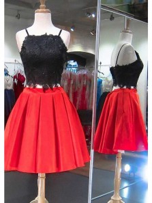 Cute A Line Two Piece Square Neck Red and Black Satin Short Homecoming Dresses with Lace