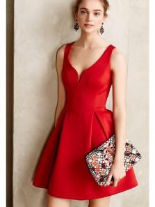 Cute A Line V Neck Open Back Black Satin Short Homecoming Dresses with Pockets, Short Prom Dresses