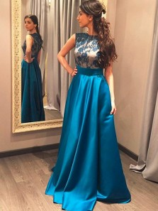 Charming A Line Round Neck Satin Blue Lace Prom Dresses, Formal Evening Dresses
