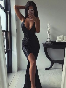Elegant Mermaid V Neck Halter Slit Black Sequin Long Prom Dresses, Formal Evening Dresses