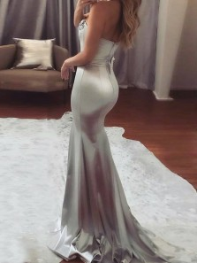 Elegant Mermaid Sweetheart Silvery Satin Long Prom Dresses with Beading, Formal Evening Dresses