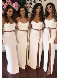 Elegant Sheath Round Neck Spaghetti Straps Slit Ivory Long Bridesmaid Dresses Under 100 BD0813001