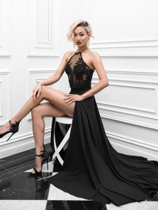 Charming A Line Halter Open Back Slit Black Lace Long Prom Dresses, Party Dresses