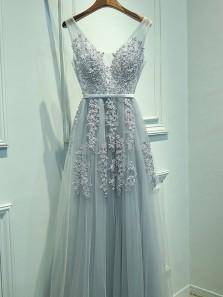 Elegant A Line V Neck Open Back Grey Long Prom Dresses with Appliques, Formal Party Dresses