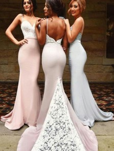 Elegant Mermaid Sweetheart Backless White and Blush Long Bridesmaid Dresses with Lace BD0813002