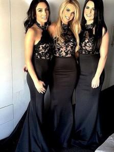 Elegant Mermaid Halter Backless Black Lace Long Bridesmaid Dresses BD0813003
