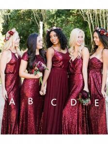 New Arrival Sheath Burgundy Sequins Long Bridesmaid Dresses BD0813004