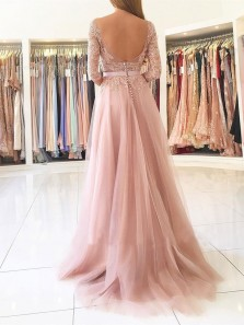 Elegant A Line Scoop Backless Slit Tulle and Chiffon Long Sleeves Blush Lace Long Prom Dresses, Formal Evening Dresses