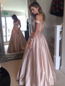 Elegant Ball Gown Off the Shoulder Open Back Blush Pink Long Prom Dresses with Pockets, Formal Evening Dresses