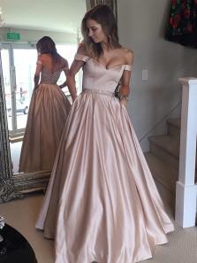 Elegant Ball Gown Off the Shoulder Open Back Blush Pink Long Prom Dresses with Pockets, Formal Evening Dresses