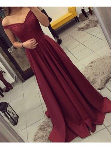 Charming A Line Off the Shoulder Open Back Burgundy Lace Long Prom Dresses, Formal Party Dresses