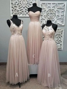 2018 New Arrival Charming A Line Chiffon Pink Lace Long Bridesmaid Dresses Under 100 BD0814001