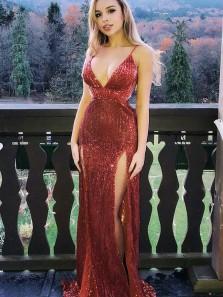 Charming Sheath V Neck Spaghetti Straps Slit Burgundy Sequins Long Prom Dresses