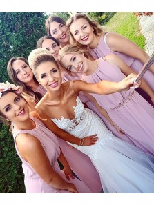 Elegant A Line Round Neck Chiffon Pink Long Bridesmaid Dresses with Beading BD0814003