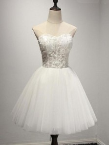 Cute A Line Sweetheart Tulle Lace White Short Homecoming Dresses with Appliques, Short Prom Dresses