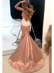 Charming Mermaid V Neck Backless Blush Long Prom Dresses with Appliques, Sexy Evening Dresses PD0814002