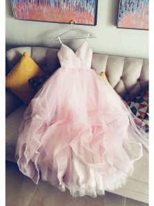 Elegant Ball Gown V Neck Spaghetti Straps Tulle Pink Long Prom Dresses, Quinceanera Dresses PD0814003