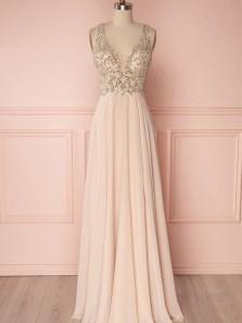 Charming A Line V Neck Open Back Pink Chiffon Beaded Long Prom Dresses, Formal Elegant Evening Dresses PD0814005