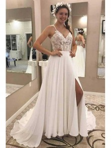 Charming A Line V Neck Open Back Chiffon White Lace Long Wedding Dresses with Appliques