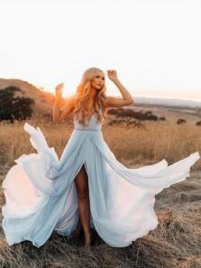 Fairy A Line V Neck Backless Slit Light Blue Chiffon Long Wedding Dresses, Beach Wedding Dresses WD0814002