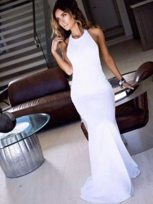 Charming Mermaid Round Neck Backless White Long Prom Dresses, Formal Evening Dresses PD0814006