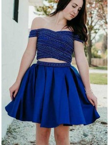 Cute A Line Two Piece Sweetheart Royal Blue Short Homecoming Dresses, Short Prom Dresses with Beading