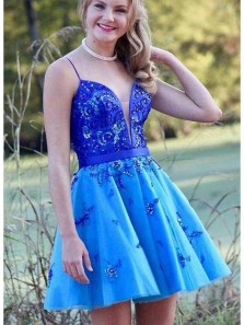 Cute A Line V Neck Spaghetti Straps Royal Blue Short Homecoming Dresses with Beading, Short Party Dresses HD0814003