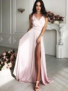 Charming A Line V Neck Backless Slit Pink Chiffon Long Prom Dresses, Formal Evening Dresses Under 100