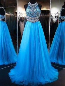 Elegant A Line Round Neck Blue Tulle Long Prom Dresses with Beading, Formal Evening Dresses