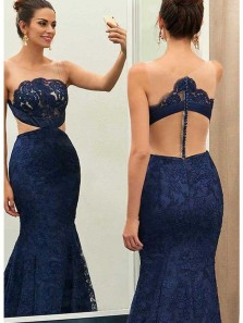 Charming Mermaid Round Neck Navy Lace Long Prom Dresses, Formal Evening Dresses