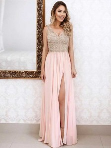 Gorgeous A Line V Neck Backless Slit Chiffon Pink Long Prom Dresses with Beading, Formal Evening Dresses