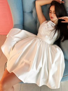 Unique A Line Round Neck Open Back Satin White Lace Short Homecoming Dresses, Formal Short Prom Dresses