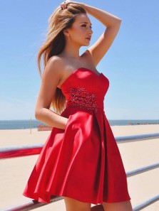 Cute A Line Sweetheart Satin Red Beaded Short Homecoming Dresses with Pockets, Formal Short Prom Dresses