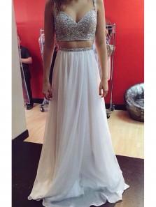 Gorgeous A Line Two Piece V Neck Spaghetti Straps Beaded White Long Prom Dresses, Elegant Evening Dresses
