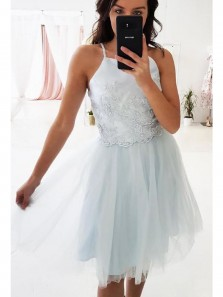 Simple A Line Square Neck Tulle Light Blue Lace Short Homecoming Dresses, Cute Short Prom Dresses