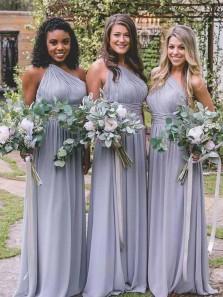 Elegant A Line One Shoulder Chiffon Grey Long Bridesmaid Dresses Under 100 BD0815002