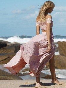 Charming A Line Two Piece Off the Shoulder Blush Chiffon Long Lace Prom Dresses, Beach Dresses, Summer Dresses PD0815003