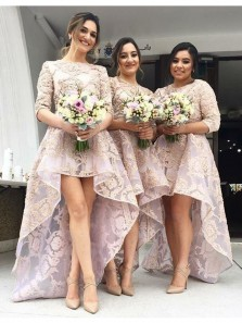 Charming A Line Round Neck Half Sleeves Pink Lace High Low Bridesmaid Dresses BD0815003