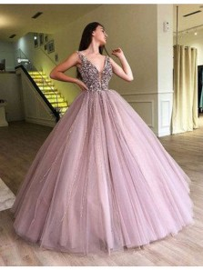 Gorgeous Ball Gown V Neck Open Back Beaded Pink Long Prom Dresses, Quinceanera Dresses