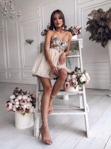 Unique A Line Sweetheart Champagne Sequins Short Homecoming Dresses, Charming Short Cocktail Dresses HD0815007
