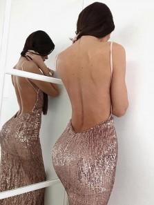 Sexy Mermaid V Neck Backless Sequins Blush Short Homecoming Dresses, Short Cocktail Dresses