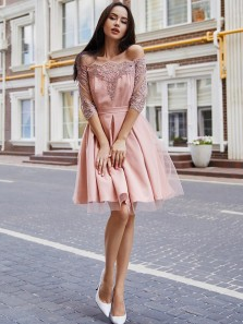 Charming A Line Off the Shoulder Half Sleeves Lace Short Homecoming Dresses, Formal Short Party Dresses