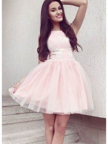 Simple A Line Round Neck Pink Tulle Short Homecoming Dresses with Appliques, Cute Short Prom Dresses