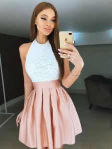 Cute A Line Halter White Lace Blush Satin Short Homecoming Dresses, Formal Short Prom Dresses