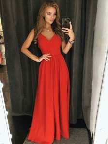 Cute A Line V Neck Backless Chiffon Red Long Prom Dresses Under 100, Formal Long Party Dresses