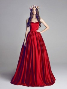 Gorgeous Ball Gown Red Satin Long Wedding Dresses with Court Train