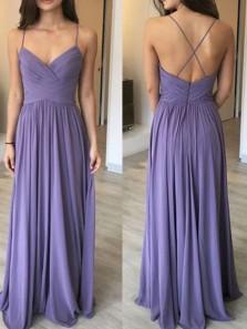 Elegant A Line Sweetheart Backless Lavender Chiffon Long Bridesmaid Dresses Under 100 BD0816002
