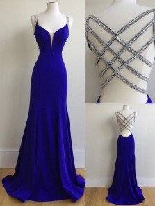 Charming Mermaid V Neck Cross Back Royal Blue Long Prom Dresses with Beading, Formal Evening Dresses PD0816002
